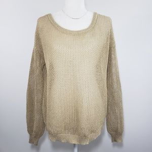 Pearl Sheer Gold Button Back Sweater, L